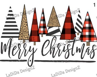 Merry Christmas Plaid Leopard Trees Sublimation Transfers - Christmas Stripes