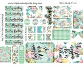 ECV-0143-TN Stickers - Mint, Peach & Pink Floral! Boho/Shabby Chic/Vintage Kit - A4/A5/Personal/Pocket - Filofax, Happy Planner, Notebooks