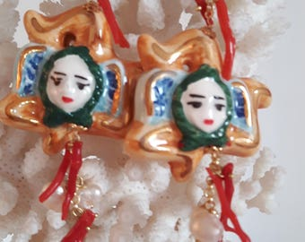Silver earrings with white pearls and coral red, Caltagirone pottery, Trinacria, Sicilian earrings earrings