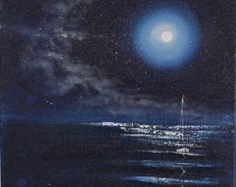 Sailboat Painting, Gift for Him, Sea at Night, Moon Wall Art, Full Moon Ocean Painting, Seascape, Coastal Art, Original Oil Painting
