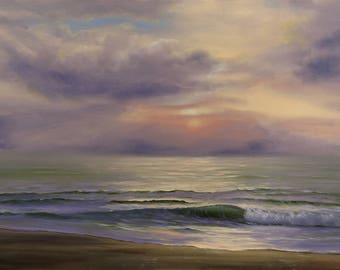Large Seascape Sunrise Painting, Fine Art, XL Living Room Ocean Art, Original Large Oil Painting on Canvas, Purple Ocean Waves Painting