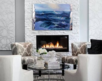 "Painting Ocean Waves, Fine Art, Large Sea Painting, Modern Ocean Painting, Seascape Painting, Blue Ocean Waves, Canvas Painting ""Rebirth"""