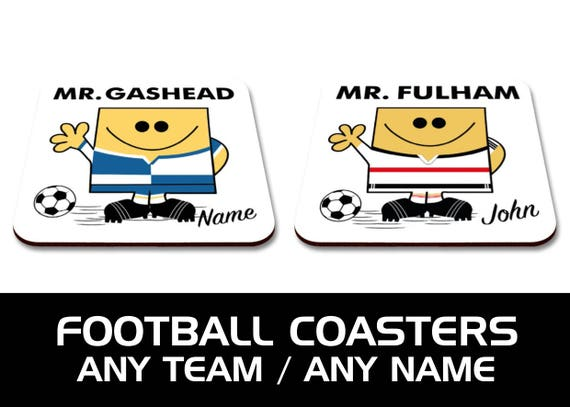 ANY TEAM: Personalised Football Coasters.  Ideal teacher, thank you, Secret Santa or stocking filler Gift