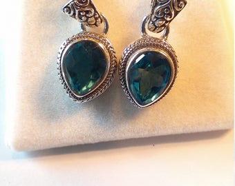 Vintage Sterling Silver Blue Topaz Dangle Earrings