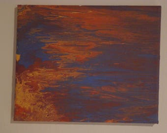 Colors orange, blue abstract acrylic painting