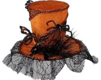 TOP HAT - Halloween Top Hat - Spider Hat - Wreath - HH3772E2