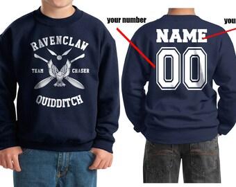 CHASER - Custom Back, Ravenc Quidditch team Chaser White printed on Youth / Kids Crewneck Sweatshirt