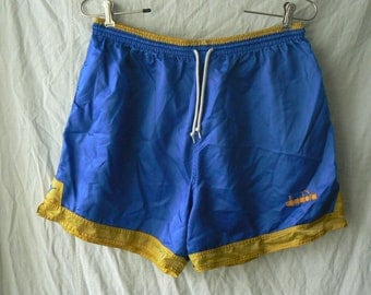 Vintage diadora Mens Mens Blue Nylon Athletic Shorts Size XL/TG Made in Indonesia Used Condition Worldwide Shipping