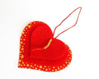 Kit Christmas plain and star hanging felt heart