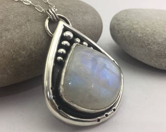Rainbow Moonstone Pendant, Sterling Silver Necklace, Rustic Pendant, Statement Pendant, Boho Necklace, Gypsy, Silver Jewelry, Best Dressed