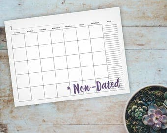 Large Non-Dated Printable Wall Calendar - Command Center Calendar. Blank Wall Calendar, Office Calendar, Classroom Calendar, Family Schedule