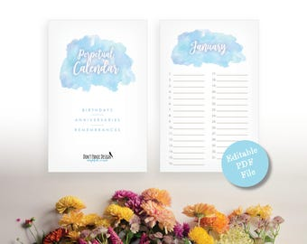 Printable Blue Watercolor Perpetual Calendar - Eternal Birthday Calendar - Anniversary Calendar - Eternal Planner - Instant Download PDF