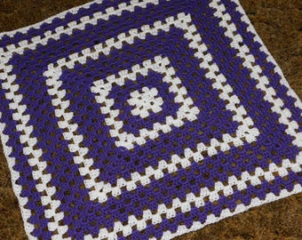 Purple and White Granny Square Baby Blanket