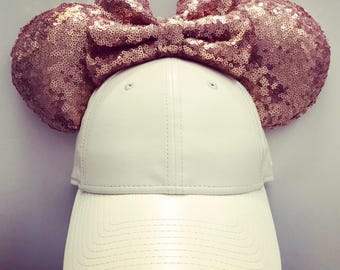 Lace Leatherette Cap Hat Mouse White Rose Gold sequin Ears mickey minnie inspired