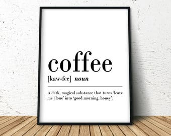 Definition Print, Coffee Sign, Coffee Decor Sign, Coffee Poster Art, Wall Art Coffee, Coffee Definition Poster, Coffee Poster Print