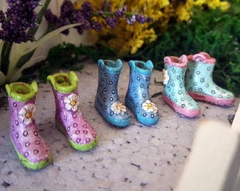 Miniature Pair of Rainboots - 3 Color Choices!