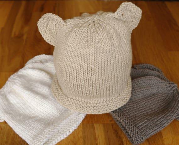 Easy Knitting Patterns For Beginners Teddy Bears : Easy baby knitting pattern / Teddy bear hat / Baby hat with ears / Beginner k...