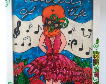 Ballerina, girl, floral art, musical notes, glass, hand painted, painting, framed