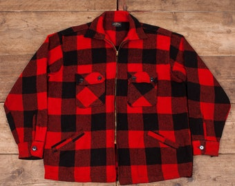 "Mens Vintage King Kole 1950s Red Wool Lumberjack Shirt Talon Zip Large 44"" R6857"