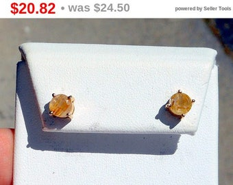 Eclipse Sale Gold Over Sterling Silver Stud Earrings With Golden Rutilated Quartz Great Everyday Earrings That Shimmer With Gold Rutiles