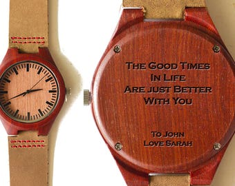 Mens wooden watch, Boyfriend Gift, Wooden Watch, Engraved Wood Watch, Birthday Gift, Gift for him, Couple Gift, Watch for men, Montre Homme