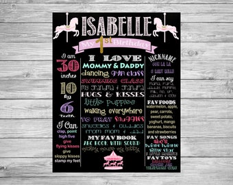 First Birthday Chalkboard/1st Birthday/First Birthday Chalkboard poster/Carousel/Horses/Carnival/Decorations/Printable Custom Sign