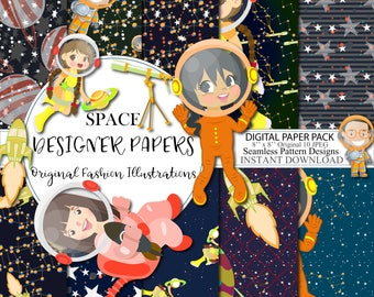 Space paper pack Wars Party Digital Paper Stars Illustration Space Background Graphics Celebration Scrapbook Planner Sticker Fabric Backdrop