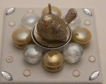 Handmade candle holder with candle-shaped silver bgr10 bird
