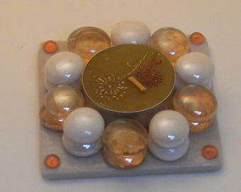 Handmade candle holder with Brown bgr47 candle
