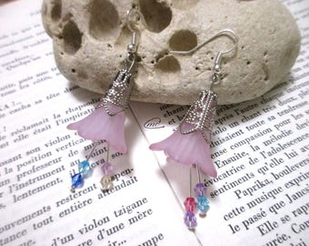 1 pair of corolla frosted Flower Earrings
