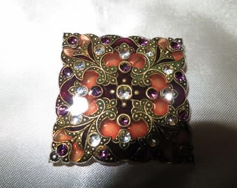 Lovely vintage Art Deco amber stained glass  rhinestone brooch