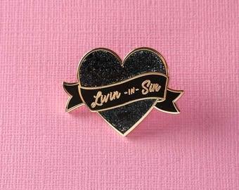 Livin' In Sin Black Glitter Heart Enamel Pin // Valentines/Galentines Gift Lapel Pin Badge/Brooch