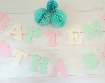 "2 garlands ""Baptism + Thai"" thick paper - colors-pastels on cotton coated cord - 12 letters + 2 clouds"