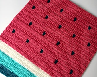 Crochet baby blanket, watermelon, pram size, buggy, stroller, car seat, chunky warm, made to order, new baby gift,