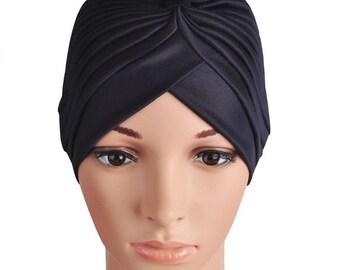 Black Turban Hat, unisex turban hat, headwrap, headband, Women hair loss turban hat, Chemo hat, Turban, Hair Accessories turban