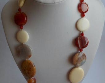 Gemstone Necklace, agate necklace, Vintage necklace