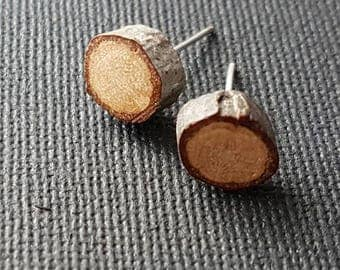 Natural wood stud earrings - small wooden branch twig studs