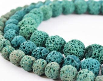 Forest Green Natural Lava Stone Beads Round 6mm/8mm/10mm Gemstone Jewelry Loose Beads 15.5 inch Strand