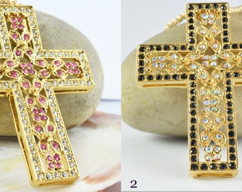 40x54mm 18KT Gold Filled Clear & Black/Rose Colored Cubic Zirconia Beautiful Cross/ Wholesale Gold Filled Pendants/ Gold Filled Cubic Stones