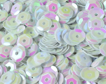 3/4/6mm Off White Bridal Cup Iridescent Shiny Sequins Sheen Round Sequins/Loose Paillettes,Wholesale Sequins,Shimmering Sequin Apparel