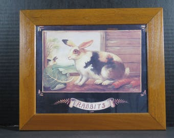 """Vintage Rabbits Framed Art Tile of Rabbits Signed by Artist Dated Picture 10""""x12"""""""