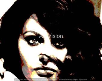 Sofia Loren Vector SVG Print  Movie Stars PDF  Download files  Graphical PNG  Wall decor Home decor Office decor