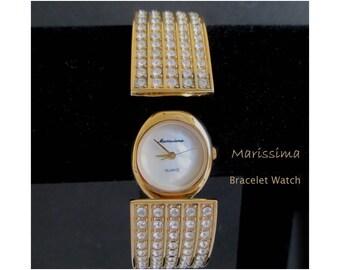 Cuff Bracelet Watch * Hidden Watch * Rhinestone Bracelet Watch * Dressy Ladies Watch * MARISSIMA