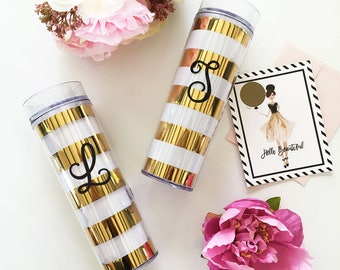 Bold Stripes Tumbler - Bridesmaids Personalized Gifts - Bridal Party Gifts, Birthday Gifts