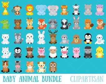 Baby Animal Clipart Bundle / Safari Animals / Woodland Animals / Farm Animals / Arctic Animals