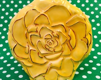 Yellow Rose Wall Pocket with Gold Details made in America circa 1950s