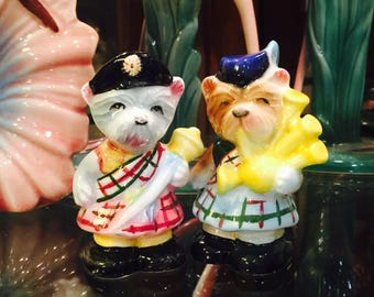 PY Miyao Anthropomorphic Scottie Dogs in Plaid Kilts, Hats, and Bagpipes Salt and Pepper Shakers made in Japan circa 1950s