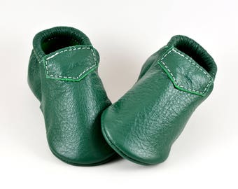 Baby Moccasins Fringeless Kelly Green Loafer Genuine Leather Toddler Newborn Boy Girl Handmade Soft Sole Shoes Prewalker Slipper Booties