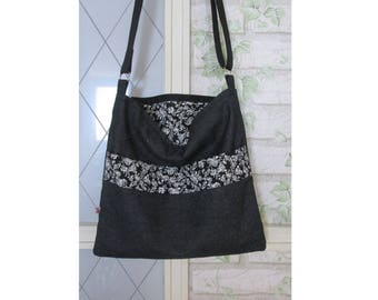 Jeans bag handbag purse bag black roses