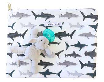 Shark Tooth Zippered Wet Bag  | Gray & Black Shark Print Travel Bag | Gray Sharks | Cloth Diaper Zip Pouch |  Water-Resistant Bag